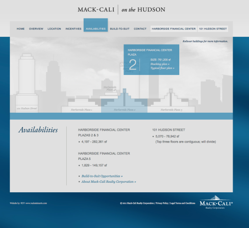 Harborside Financial Center Availabilities Page by Real Estate Arts