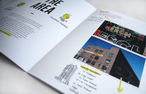 "Real Estate Arts designs a retail marketing brochure for the new development ""Bedford Avenue and N 4th"