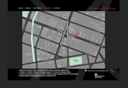 Real Estate Arts designs complete integrated campaign including website to promote 353 W 14th Street Retail