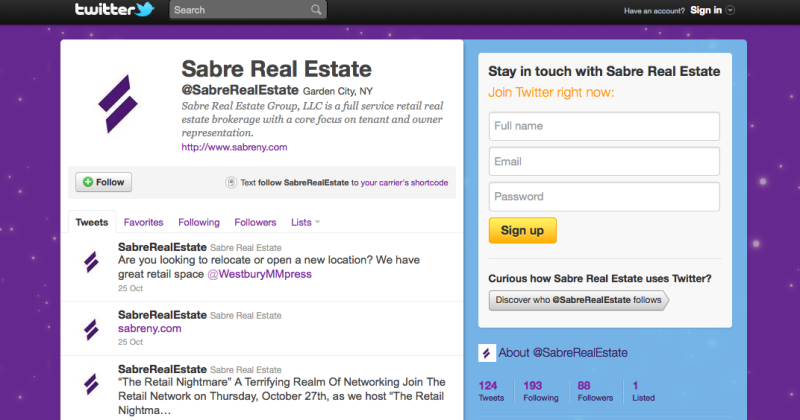 Sabre Real Estate Twitter Page - Brand by REA