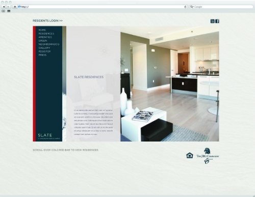 SEDONA & SLATE website created by Real Estate Arts for JBG Companies